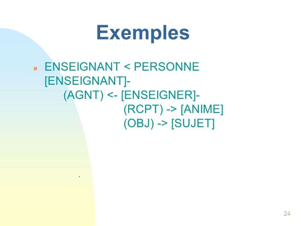 Exemples ENSEIGNANT < PERSONNE [ENSEIGNANT]- (AGNT) <- [ENSEIGNER]- (RCPT) -> [ANIME] (OBJ) -> [SUJET]